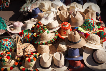 Hats for sale in the Medina in Marrakesh Marocco