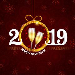 Happy New Year 2019 wishes seasonal greeting background