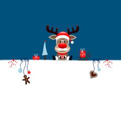 Half Card Rudolph Glasses Gift & Symbols Blue