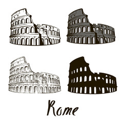 hand drawn Rome, the Colosseum