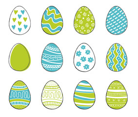 Happy Easter greeting templates card colors blue and green with hand drawn modern eggs. Vector illustration.