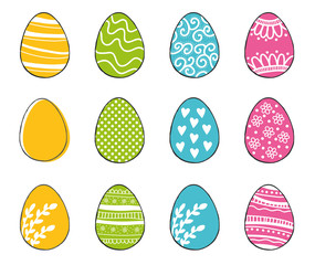 Happy Easter with cute cartoon eggs colorful hand drawing. Isolated objects on white background. Vector illustration. Festive design elements. Concept for greeting card, invitation.