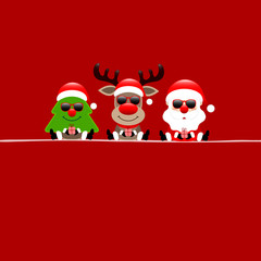 Christmas Tree, Rudolph & Santa Sunglasses With Gift Red