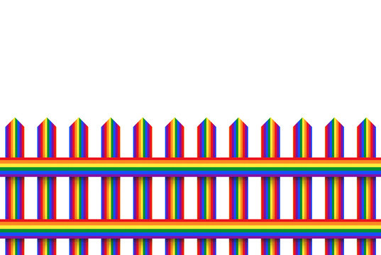 3d rendering. Lgbt rainbow color wood fence with clipping path isolated on white background.