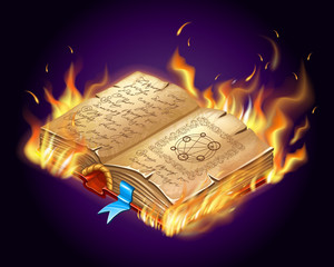 Isometric burning book of magic spells and witchcraft for computer game in cartoon style. Vector illustration.
