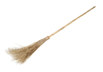 Broom with bamboo handle