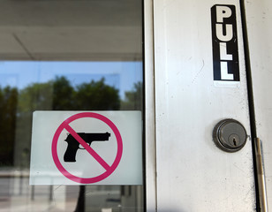 "The Sign ""No Gun"" on the door in Chicago, IL"