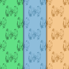 feather seamless pattern hand drawn sketch