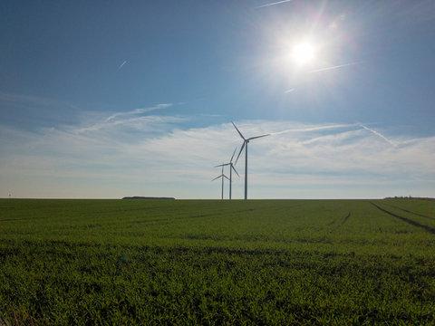 Windräder im Sonnenlicht