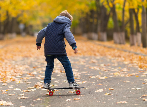 Young boy on the skateboard from his back