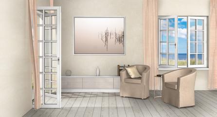 Wohnzimmer einer Ferienwohnung Interior Design am Meer im Landhausstil mit geöffnetem Fenster und Terrassentür zum Lüften