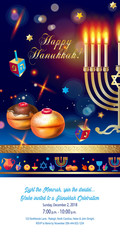 Happy Hanukkah Festival festive decoration gold menorah, baked donuts, wood dreidel on wood table, bokeh lights background vector greeting card, Israel.
