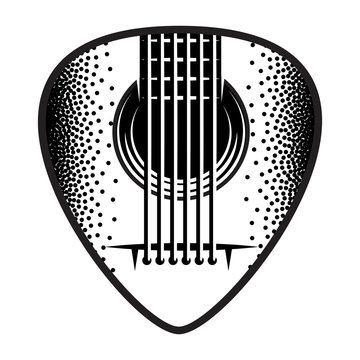 Stylish monochrome plectrum for guitar. Vector illustration