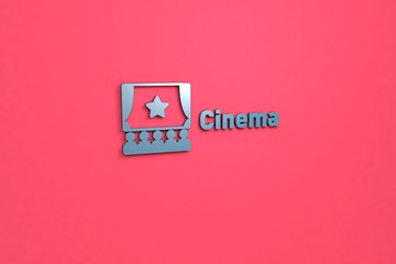 3D illustration of Cinema, blue color and blue text with red background.