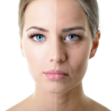 Anti-aging concept. Portrait of beautiful woman with problem and clean skin. Aging and youth concept. Beauty treatment.