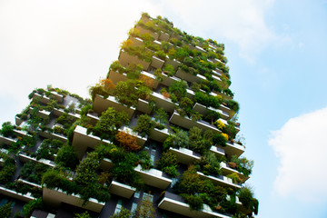 Photo sur Aluminium Milan Milan, Italy - September 19th, 2018, Bosco Verticale, Vertical Forest residential towers.
