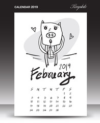 Pig calendar for 2019, Lettering calendar, February 2019 template, hand-drawn pig cartoon vector illustration Can be used for postcard, gift card, banner, poster, card and printable, china calendar