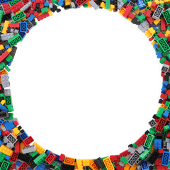 Circle frame of child's building blocks with clipping path