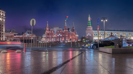 Moscow. November 10, 2018. Night. View from Mokhovaya Street after the rain. Historical Museum, the Manege, the Kremlin wall, the Arsenal Tower and Monument to victims of the terrorist attack