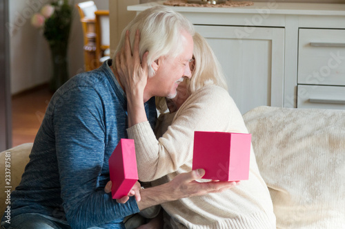 Happy Aged Wife Hugging Beloved Husband Thanking For Birthday Present Loving Senior Man Making Surprise Giving Gift In Box To Woman Elderly Romantic