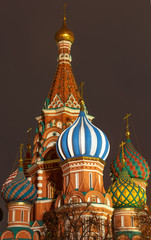 Colourful towers of Saint Basil Cathedral in Moscow