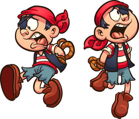 Pirate boy falling with hands tied behind back. Vector clip art illustration with simple gradients. Each on a separate layer.