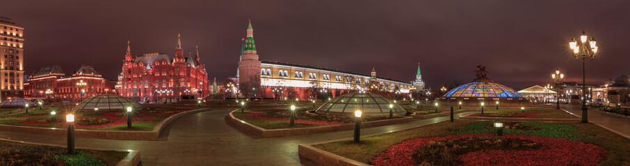 Panoramic night view over Manezhnaya Ploshchad in Moscow