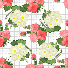 Embroidery colorful simplified  pattern of  flowers and leaves.  Vector    elements   for design. seamless  ornament