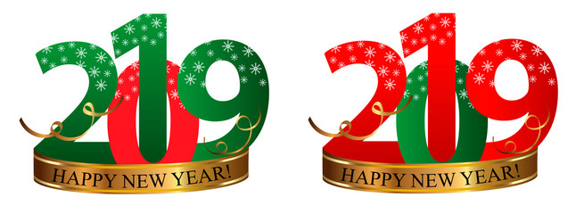 Set New Year Digits 2019 with snowflakes and golden ribbon isolated on white background. Vector