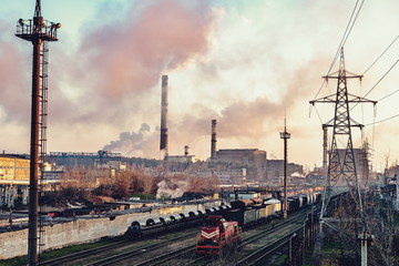 Deurstickers Treinstation smoking chimneys of old plants