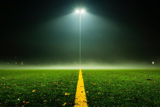 Foggy Footballfield, Soccer, football field at night with fog, lantern and fog