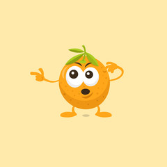 Illustration of cute surprised orange mascot pointing to the left isolated on light background. Flat design style for your mascot branding.