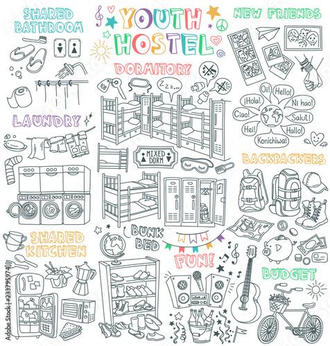f5b1bdeda8 Hostel doodles set. Budget hotel for backpackers - dormitory room ...