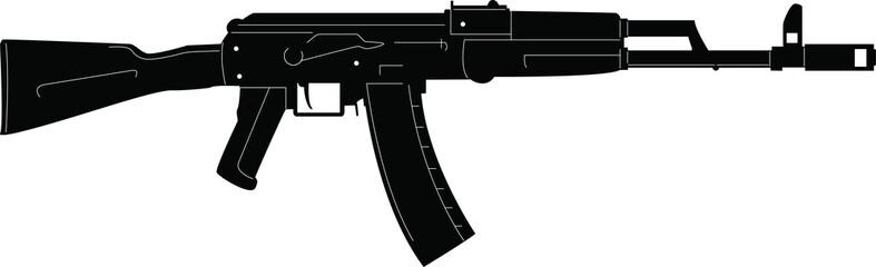 Submachine gun icon or sign isolated on white background. Kalashnikov or AK47 black silhouette. Vector illustration.