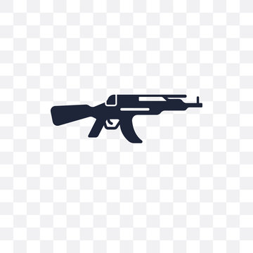 Kalashnikov transparent icon. Kalashnikov symbol design from Army collection. Simple element vector illustration. Can be used in web and mobile.