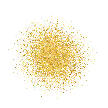 Gold glitter on white background. Vector shine texture. Design element for cards, invitations, posters and banners