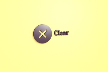 3D illustration of Clear, violet color and violet text with yellow background.