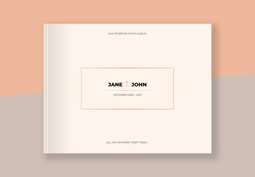 Photo Album Layout with Pale Orange Gradient Element
