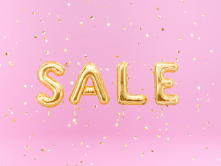 Sale balloon golden text on pink background, discount girly banner, 3d rendering