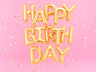 Happy Birthday text congratulations gold foil balloons on pink background, greeting female banner, 3d rendering