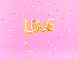 Love word gold inflatable letters on pink background, 3d rendering