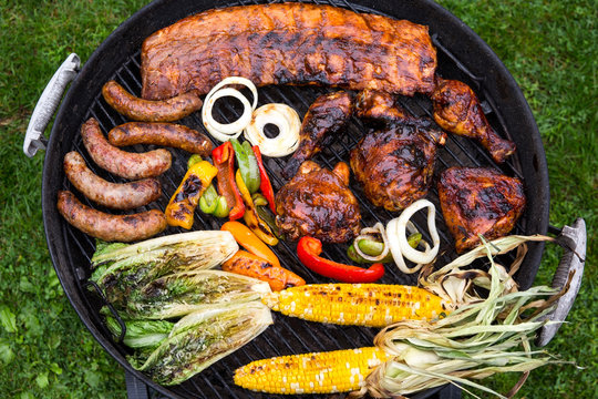 Overhead view of barbecue mixed grill