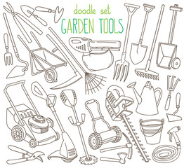 Garden tools doodle set. Equipment and facilities for gardening, farming, agriculture and horticulture. Hand tools and power tools. Hand drawn vector illustration isolated on white background
