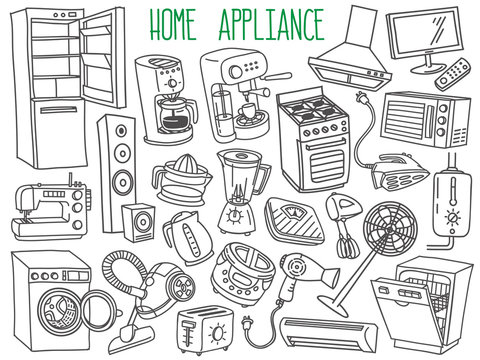 Home appliances doodles set. Household equipment and facilities - major and small appliances, consumer electronics, kitchenware. Hand drawn vector illustration isolated on white background