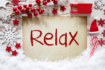 Bright Christmas Decoration, Snow, English Text Relax