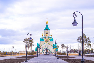 Church of the Holy Martyr Tatiana in Russia in the early afternoon spring