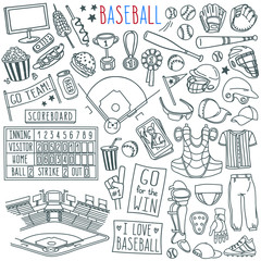 Baseball doodle set. Special equipment, player's clothing, field, stadium, fan's banners and signs. Hand drawn vector illustration isolated on white background