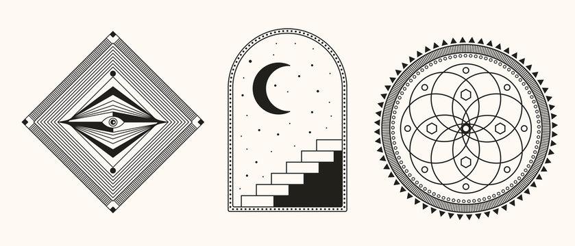 Mystic Symbols. Mandala sacred geometry. Esoteric, Alchemy, sacred geometry illustration.