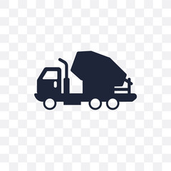Cement truck transparent icon. Cement truck symbol design from Transportation collection. Simple element vector illustration. Can be used in web and mobile.
