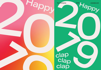 Typographical Holiday Postcard